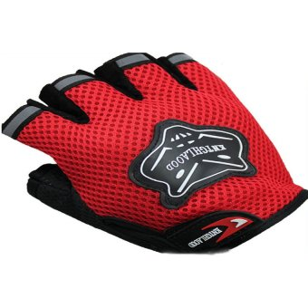 HKS Unisex Outdoor Cycling Bike Riding Mountain Climbing Half Finger Mesh Gloves (Red) - Intl