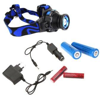 HuoLaLa Headlamp Convenient 2000LM T6 Headlight Flashlight Torch EU Charger 2 Battery Blue - intl