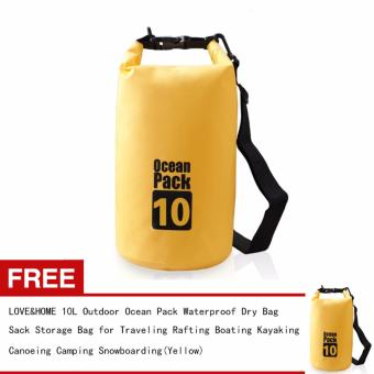Harga LOVE&HOME 10L Outdoor Ocean Pack Waterproof Dry Bag Sack Storage Bag for Traveling Rafting Boating Kayaking Canoeing Camping Snowboarding(Yellow) Buy One Take One