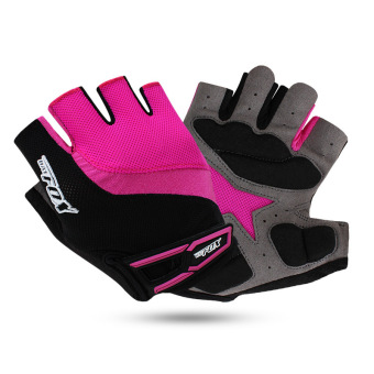 Harga 3D Silicone Gel Pad Half Finger Women Bike Bicycle Cycling Gloves Slip For MTB (Roseo)