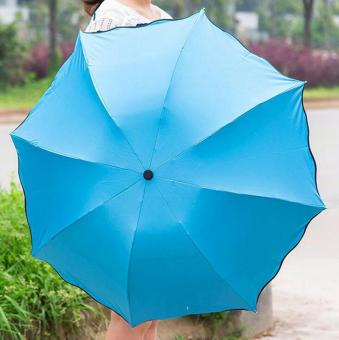 Harga Magic Umbrella for Sunny and Rainy Appear Flowers When Meet Water (Blue) - intl