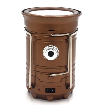 Harga Solar Powered Batteries Rechargeable 6-LED Camping Lantern Light- Brown