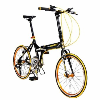 "Mismax MA-6 20"" Shimano 21-Speed Alloy Folding Bike (Matte Black/Yellow) Price Philippines"
