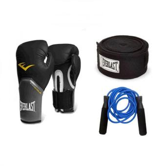 Harga Everlast Elite Training Gloves 14oz (Black) with 180'in Everlast Handwrap (Black) and Everlast Jump Rope (Blue)