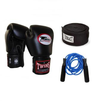 Harga Twins Special Boxing Gloves 14oz (Black) with 180'in Everlast Handwrap (Black) and Everlast Jump Rope (Blue)