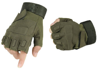 niceEshop Half-finger Airsoft Hunting Riding Gloves(Green,XL) - Intl Price Philippines