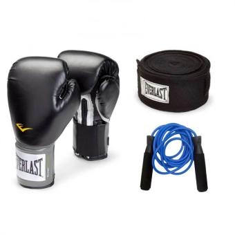 Harga Everlast Pro Style Training Gloves 14oz (Black) with 180'in Everlast Handwrap (Black) and Everlast Jump Rope (Blue)