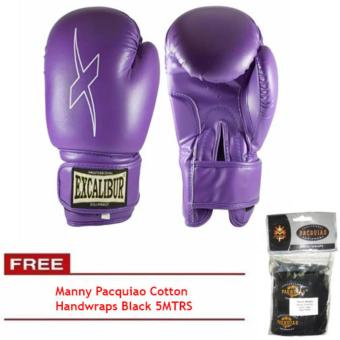 Harga Excalibur Viox PU Gloves Purple 8oz with Manny Pacquiao Cotton Handwraps Black 5MTRS