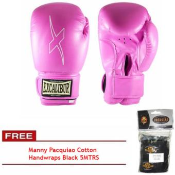 Harga Excalibur PU Gloves Hot Pink 10oz with FREE Manny Pacquiao Cotton Handwraps Black 5MTRS