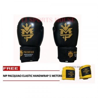 Harga MP Manny Pacquiao Boxing Gloves 12oz (Black) with Free Pacquiao 5 Meters Elastic Handwrap (Yellow)