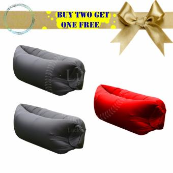 FAST INFLATABLE BANANA BED 2 Pcs Black And 1Pcs Red(BLACK/RED) Price Philippines