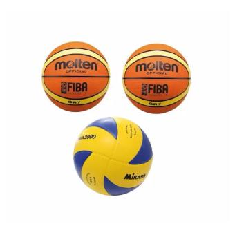 Harga Molten Official GR7 Basketball Fiba Set of 2 and Mikasa MVA 2000 Volleyball (Yellow/Blue) with free pin