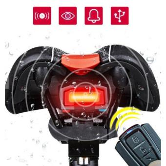 (Import)ANTUSI A6 Bicycle 3 in 1 Wireless Rear Light Cycling RemoteControl Alarm Lock Mountain Bike Smart Bell COB Tailight USB Charge- intl