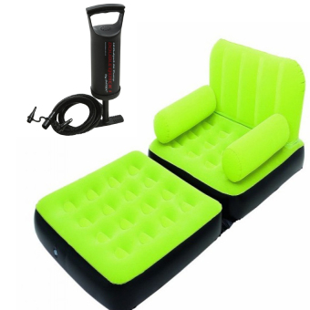 INFLATABLE AIR SOFA BED COUCH WITH FREE Intex Double Quick HandPump (Green)