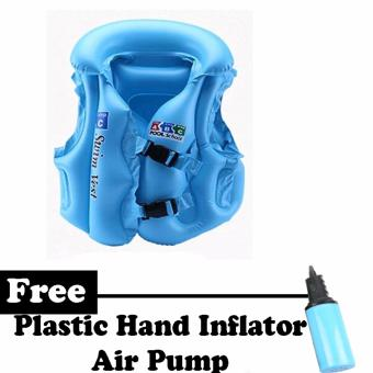 Inflatable Swimming Aid Vest for Kids (Blue) Buy 1 Free 1 Air Pump