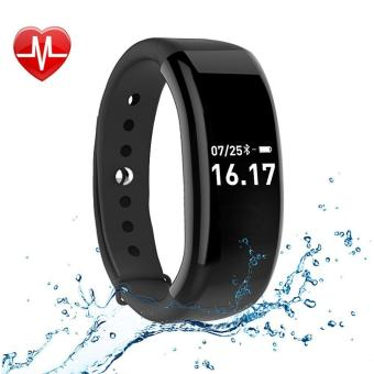 JUSHENG Fitness Activity Tracker Watch, Bluetooth 4.0 Wireless Waterproof Smart Band with Sleep Heart Rate Monitor Pedometer Sport Bracelet for Android and ios, Black - intl
