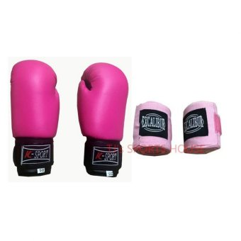 K Sports Boxing Gloves 12oz (Pink) with Excalibur 5m Elastic HandWraps (Pink)