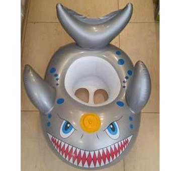 Kids Inflatable Boat Shark Shaped Swim Seat Float(gray)