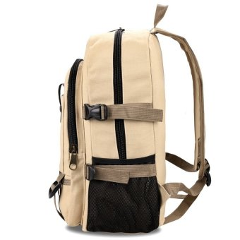 LCD Canvas Solid Schoolbag Backpack (Dark Khaki) - INTL - picture 2