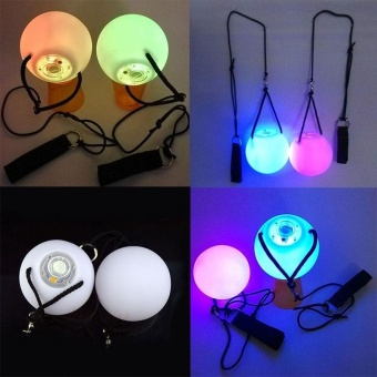LED POI Thrown Glow Balls for Belly Dance Party Dancing Level Hand Props - intl