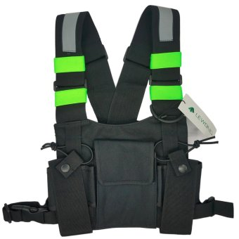 Lewong Universal Radio Chest Harness Bag With Fluorescence bandCard package For Two Way Radio - intl