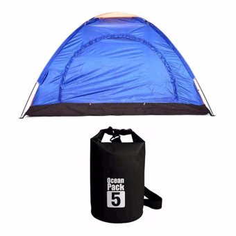 Lightweight 2-4 Person Camping Backpacking Tent With Carry Bag withOcean Pack Waterproof Floating Dry Bag 5L ideal for Outdoor Sports(Black)