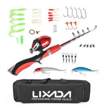 Lixada Portable 1.4m Telescopic Fishing Rod and Closed Fishing ReelFishing Lure Jig Head Hook Barrel Swivel Combo - intl