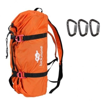 MagiDeal Folding Rock Climbing Rope Cord Bag Storage Backpack with 3 Pieces Carabiner - intl