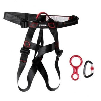 MagiDeal New Rock Climbing Sit Harness + 35KN Figure 8 Belay Device + 25KN Carabiner - intl