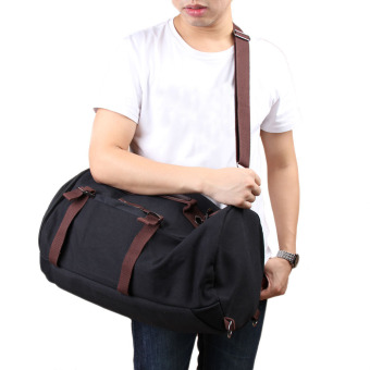 Man Outdoor Canvas Backpack Black - 2