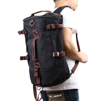 Man Outdoor Canvas Backpack Black