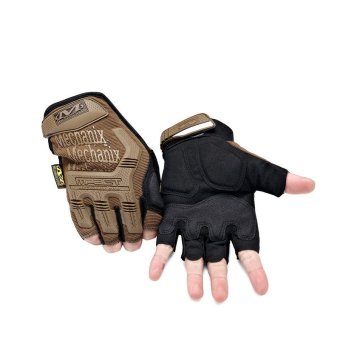 Mechanix Gym Tactical Fitness Gloves Army Military Sport Motorcycle Half Finger Fingerless Men Brown
