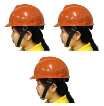 Meisons Safety Helmet Hard Hat PE Vguard (Orange) Set of 3