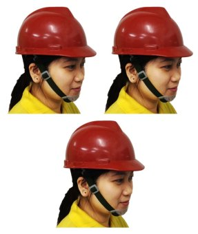 Meisons Safety Helmet Hard Hat PE Vguard (Red) Set of 3