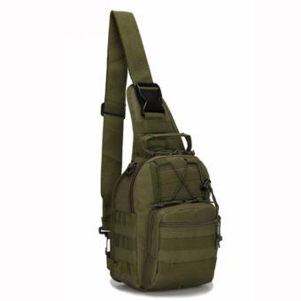 Men Tactical Outdoor Sport Crossbody Sling Shoulder ChestWaterproof Bag Backpack (Olive)