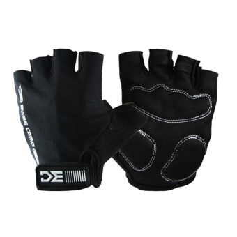 Men Women Outdoor Sport Half Finger Gloves Wearproof Breathable Protective Gloves for Cycling Fishing Shooting Hiking Color:Black Size:L - intl
