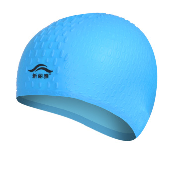 Men women's waterproof long hair silicone swimming cap