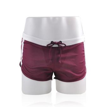 Mens G-string Design Round Hem Sports Shorts (Purple)