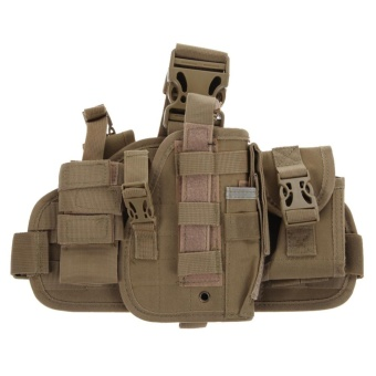 Molle Quick Detach Drop Leg Holster with MOLLE Pouch(Khaki) - intl