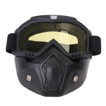 Motorcycle Goggles Detachable Harley Protect Padding Full Mask(Yellow) - intl