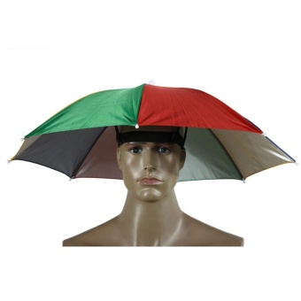 New Foldable Head Umbrella Hat Cap Golf Outdoor Sun HeadwearFishing Camping - intl