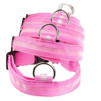 Nylon LED Light Night Safety Collar (Pink) - picture 2