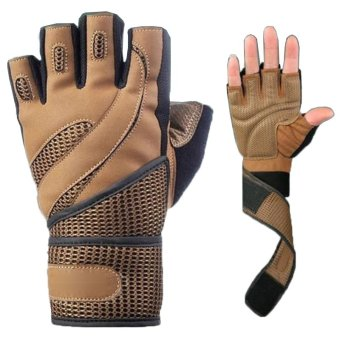 OEM 1 Pair Weightlifting Fitness Gloves Wrist Wrap Workout Black/Brown M/L/XL