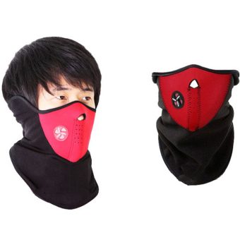 OEM 2PC Winter Ski Bicycle Sports Neck Half Face Warmer Mask (Red)