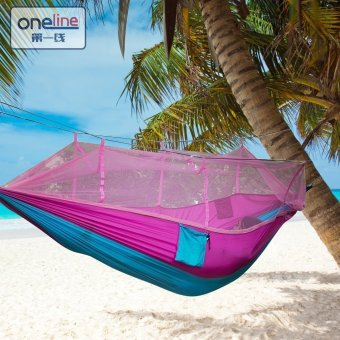 Oneline 260x130cm Portable Parachute Nylon Fabric Mosquito NetHammock Camping Tent Hanging Bed (Pink) Price Philippines