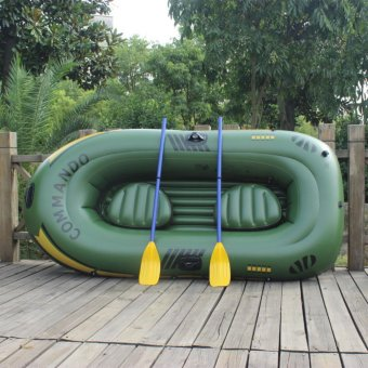 Original Authentic 3 Persons 0.50MM PVC Thick Drift Boat KayakCanoeing Outdoor Fishing Inflatable Boat (Army Green) - intl