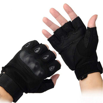 Outdoor Airsoft Hunting Cycling Motorcycle Driving TacticalFingerless Gloves M (Black)
