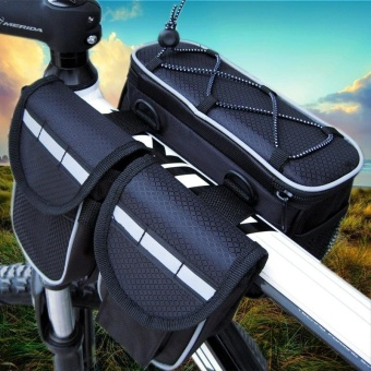 Outdoor Bicycle Cycling Frame Front Bag Cycling Bike SaddleBags(Black) - intl