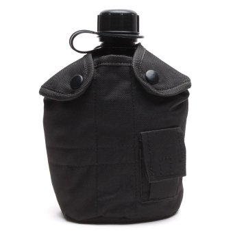 Outdoor Essentials Water Canteen with Belt 2 Pouch (Black)