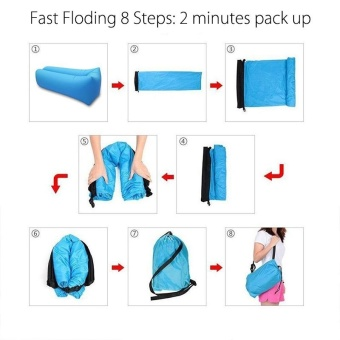 Outdoor Portable Beach Lazy Fold Fast Inflatable Sofa Air Bed Air Lounger Chair couch Banana Sleeping Bag Mattress Seat Couch Camping Lay bag lazy bag Hammock camping(Emerald Green) - intl - 3
